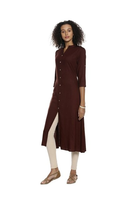 Soch Brown Regular Fit Rayon Kurta