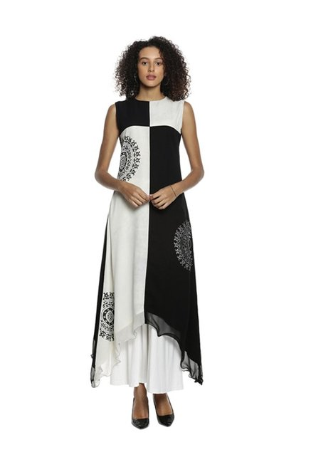 Soch Black & White Printed Georgette Kurta