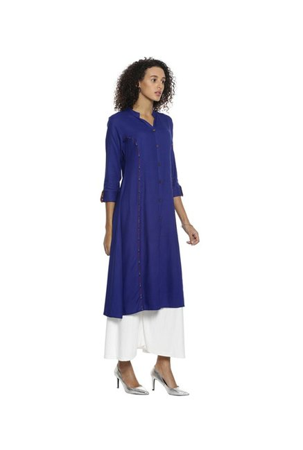 Soch Royal Blue Regular Fit Rayon Kurta