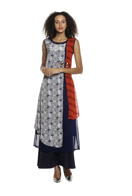 Soch Off White & Navy Printed Georgette Kurta
