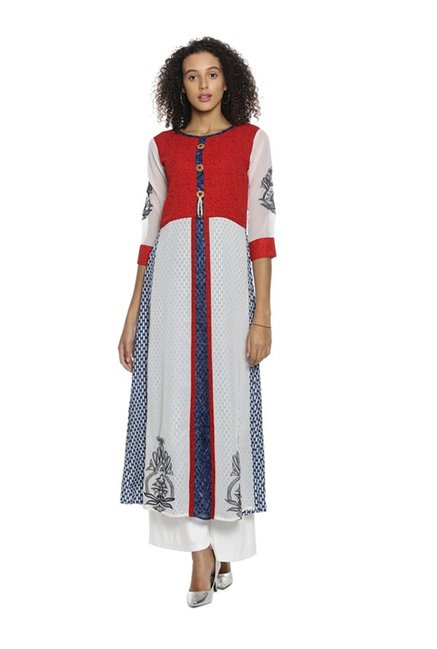 Soch Red & Cream Printed Crepe Kurta