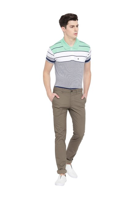Duke Green & Blue Striped Half Sleeves Polo T-Shirt