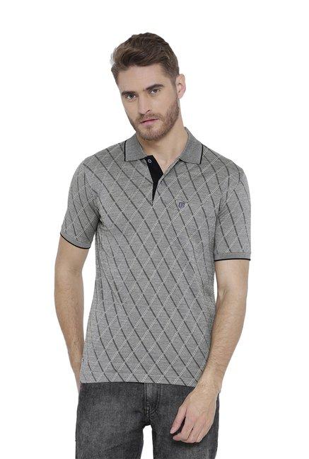 fea26c5527d Buy Duke Grey Regular Fit Checks Polo T-Shirt for Men Online   Tata ...