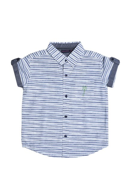 cad5acbb87 Buy Mint & Cotton White & Blue Striped Shirt for Boys Clothing Online @  Tata CLiQ