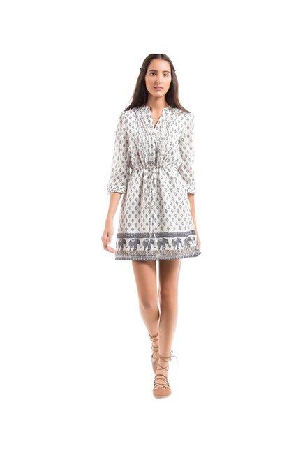 76bfbd128e6a Buy Elle White Printed Mini Dress for Women Online   Tata CLiQ