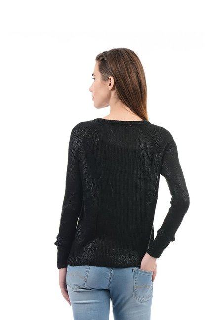 Elle Black Crochet Sweater