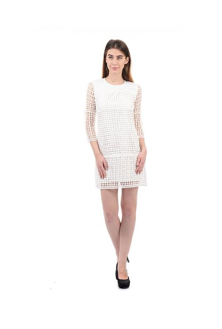 Elle White Lace Above Knee Dress