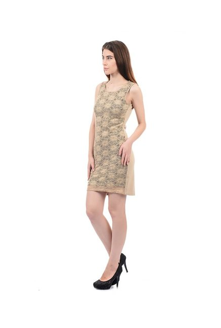 Elle Beige Lace Above Knee Dress