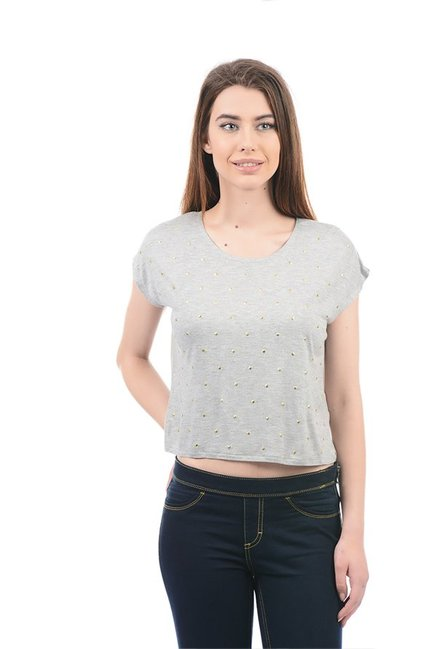 467f9a221127aa Buy Elle Grey Embellished Crop Top for Women Online   Tata CLiQ