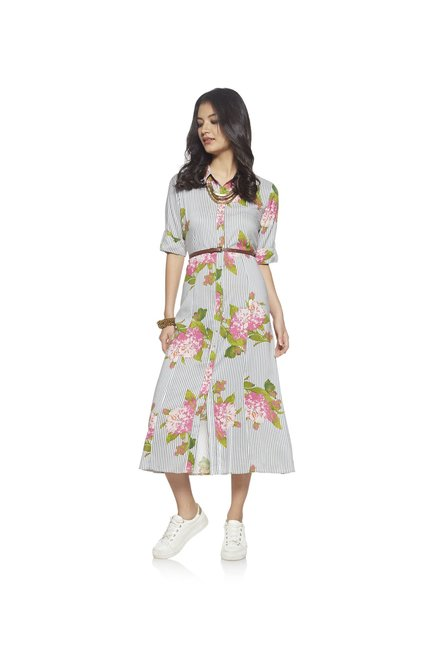 Bombay Paisley by Westside Off White Floral Shirtdress With Belt