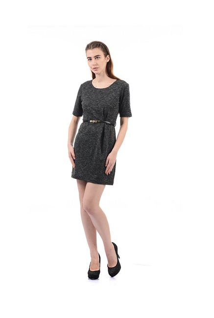 Elle Black Textured Mini Dress