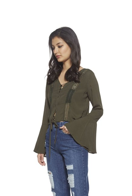 15ecb00e0e649 Buy Nuon by Westside Green Cropped Blouse for Women Online   Tata CLiQ