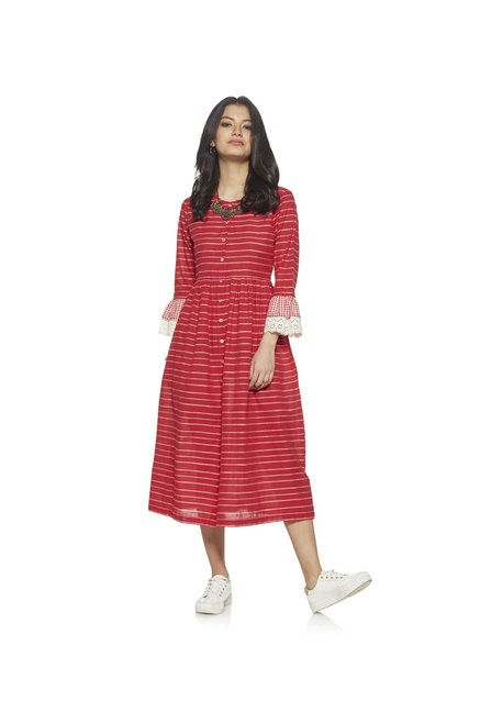 Bombay Paisley by Westside Red Striped Dress