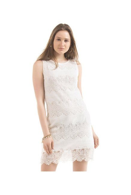 52bbb31c67fa Buy Elle White Lace Dress for Women Online   Tata CLiQ