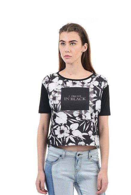 e2d3c262aaf0d7 Buy Elle Black   White Floral Print Crop Top for Women Online   Tata ...