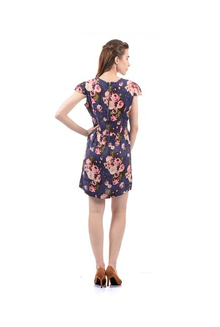 Elle Purple Floral Print Above Knee Dress