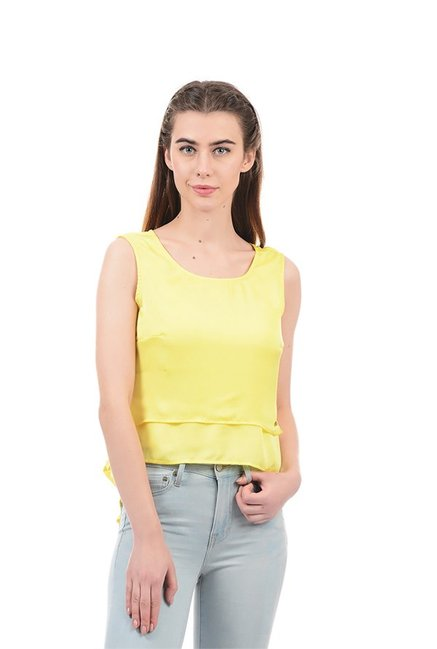 3c1feb3ceb0aac Buy Elle Yellow Regular Fit Crop Top for Women Online @ Tata CLiQ