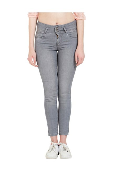 06436c04e6fdb6 Buy Kraus Grey Skinny Fit High Rise Jeans for Women Online @ Tata CLiQ