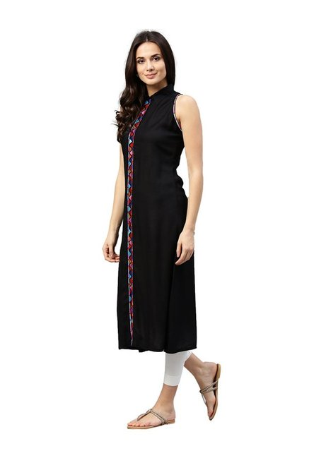 Jaipur Kurti Black Embroidered Rayon Dress