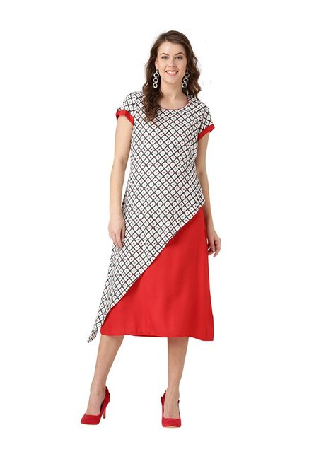 1ce89606f04 Buy Desi Fusion Off White   Red Printed Rayon Dress for Women ...