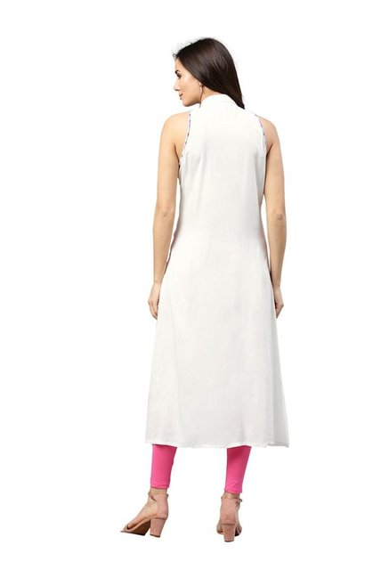 Jaipur Kurti White Rayon Dress