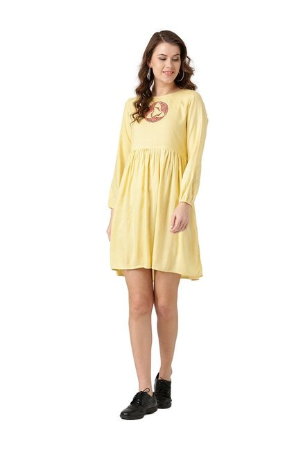 Desi Fusion Yellow Embroidered Rayon Dress