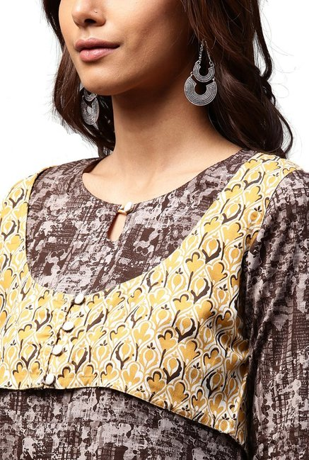 Jaipur Kurti Brown Printed Rayon Kurta With Koti Jacket