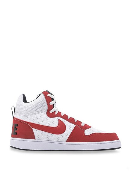 Buy Nike Court Borough Mid White   Gym Red Ankle High Sneakers ... 7cbc2db07