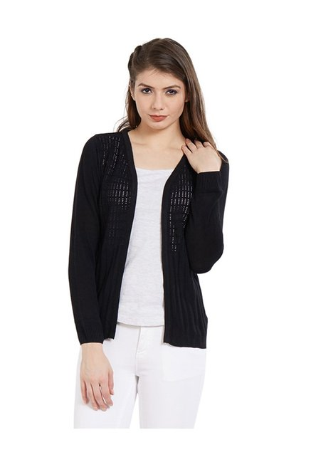 Kraus Black Crochet Shrug
