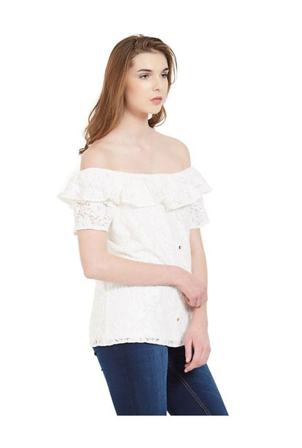 073f85d836034 Buy Kraus Off White Lace Top for Women Online   Tata CLiQ