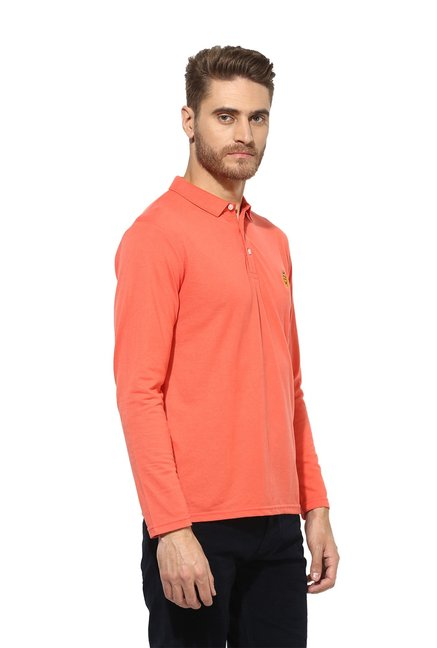 Red Tape Orange Solid Full Sleeves T-Shirt