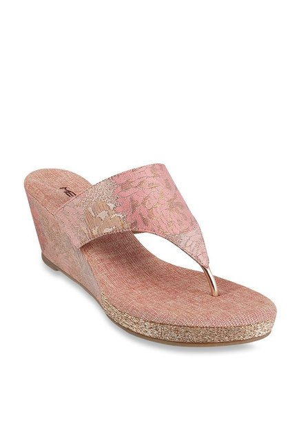 09658b36a Buy Metro Blush Pink Thong Wedges for Women at Best Price   Tata ...