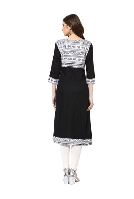 Mytri Black & White Printed Cambric Kurta