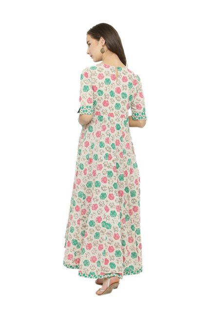 Varanga Off White & Green Printed Kurta