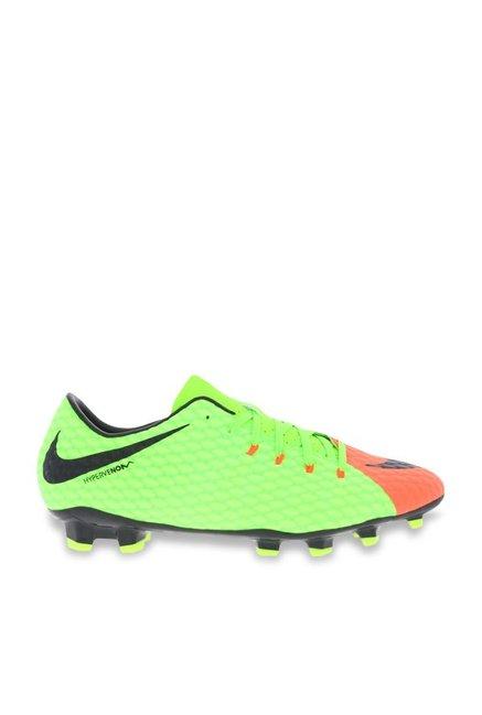 2d22ae98516e Buy Nike Hypervenom Phelon III FG Green   Orange Football Shoes for Men at  Best Price   Tata CLiQ