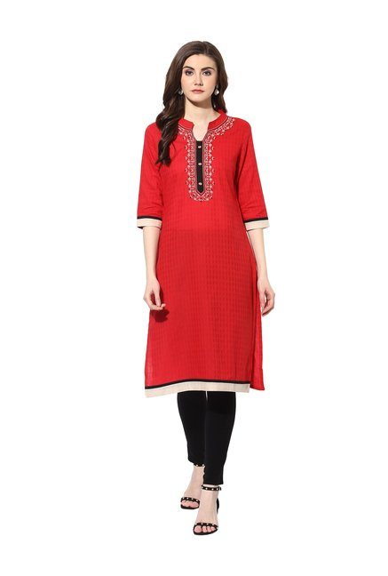Mytri Red Embroidered Rayon Kurta