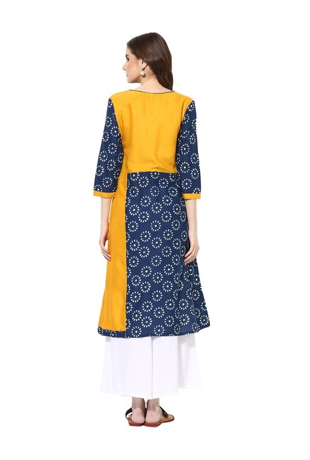 Mytri Navy & Yellow Embroidered Cambric Kurta