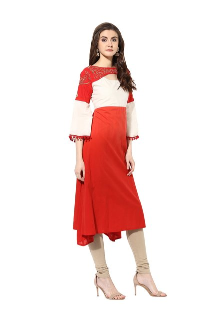 Mytri Red & Off Printed Cambric Kurta