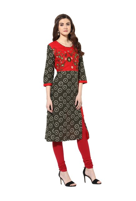 Mytri Olive & Red Embroidered Cambric Kurta