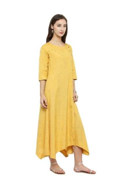 Varanga Yellow Printed Dress