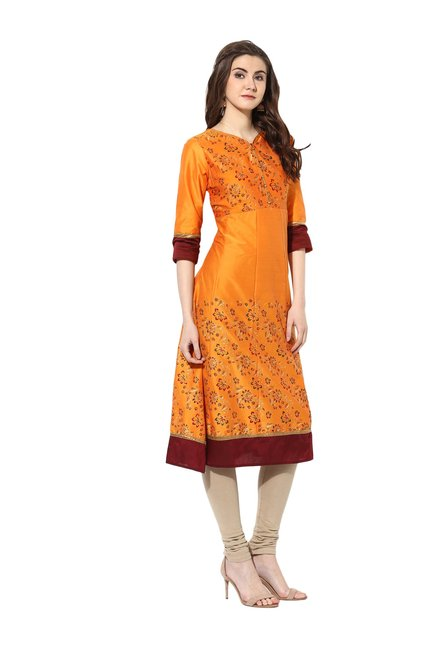 Mytri Orange Printed Poly Cotton Kurta