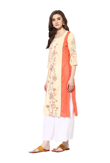Mytri Cream & Orange Printed Rayon Kurta