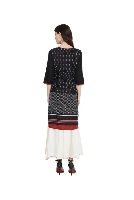 Juniper Black Printed Cotton Kurta