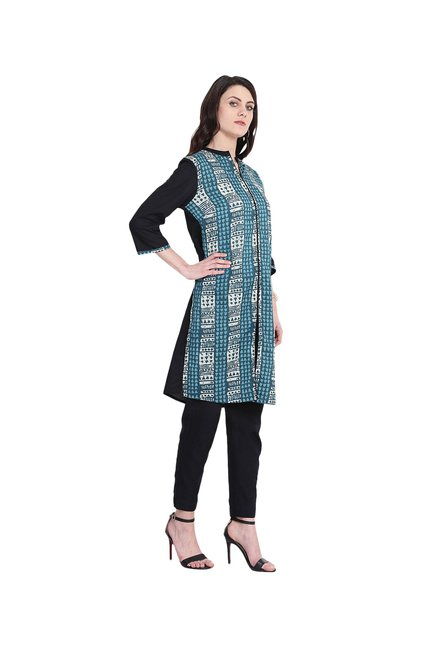 Juniper Blue & White Printed Cotton Kurta
