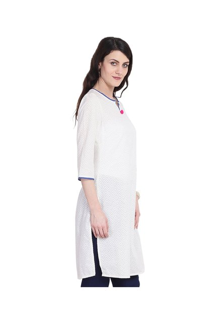 Juniper White Printed Cotton Kurta