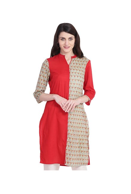 Juniper Red & Beige Printed Cotton Kurta