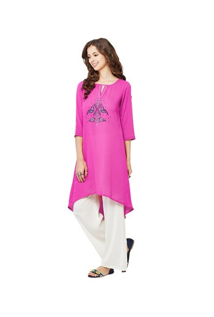 Global Desi Pink Printed Kurta