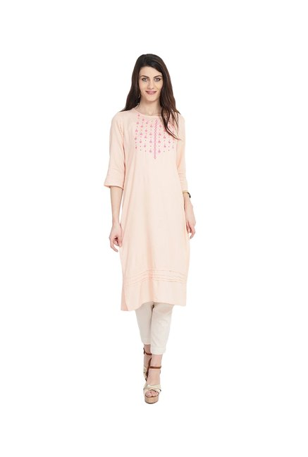 Juniper Peach Embroidered Rayon Kurta