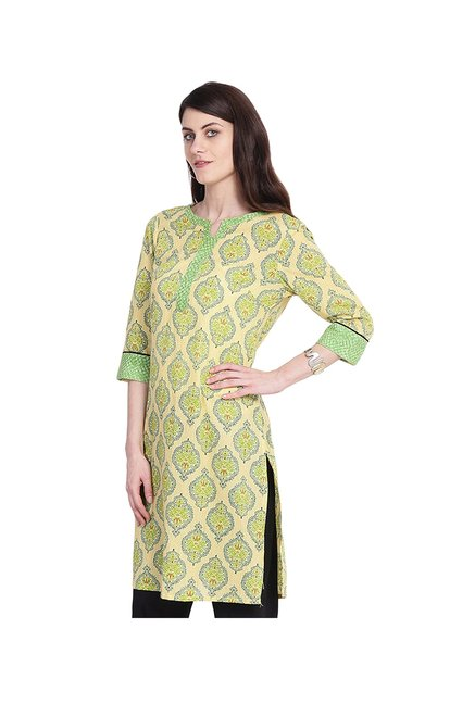 Juniper Yellow & Green Printed Cotton Kurta