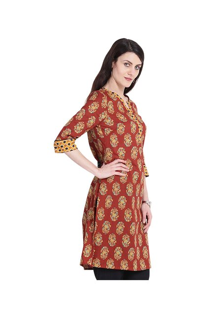 Juniper Brown Printed Cotton Kurta